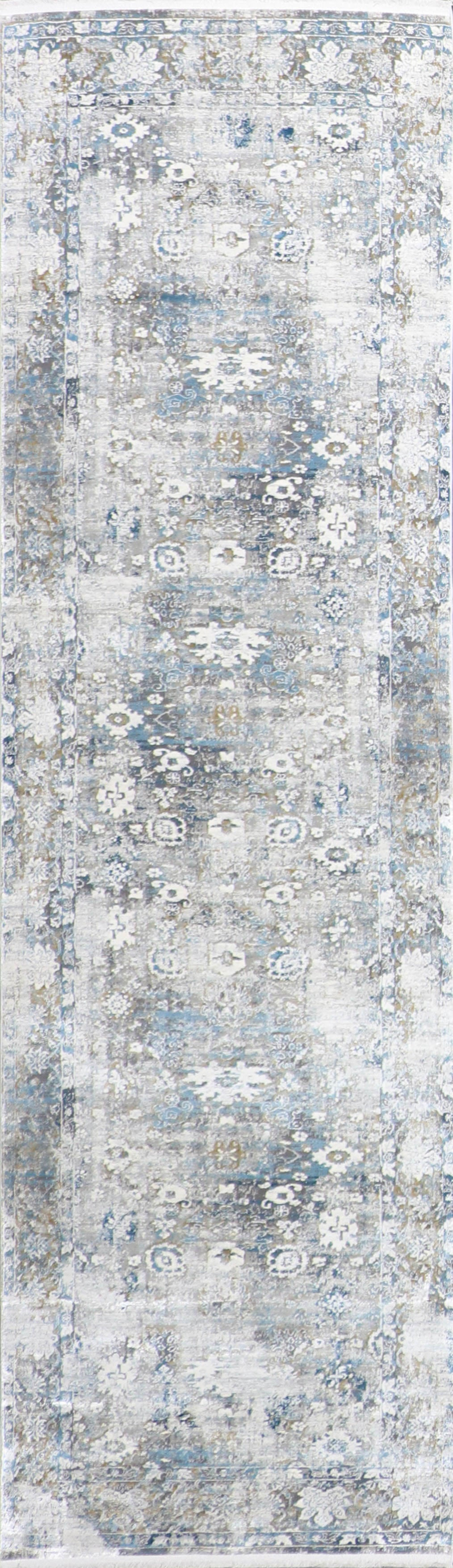 "2'7""x9'10"" Transitional Gray Wool & Silk Hand-Finished Rug"