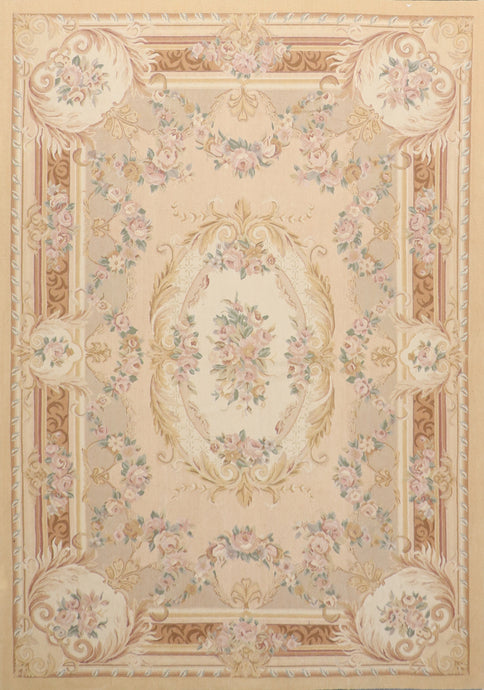 "6'2""x9'3"" Aubusson Wool Hand-Knotted Rug"