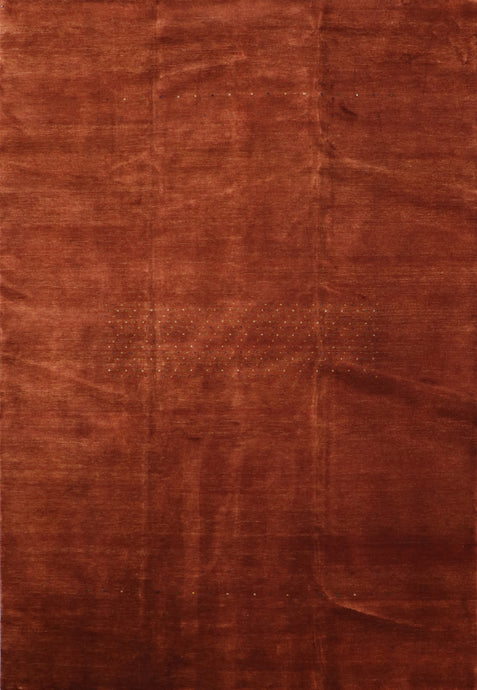 "6'7""x9'10"" Contemporary Gabbeh Rust-Brown Wool Hand-Knotted Rug - Direct Rug Import 