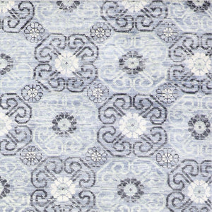 "7'11""x9'8"" Contemporary Blue Wool Hand-Knotted Rug - Direct Rug Import 
