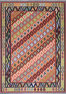 "6'11""x10' Persian Kilim Multi-Colored Wool Hand-Knotted Rug"