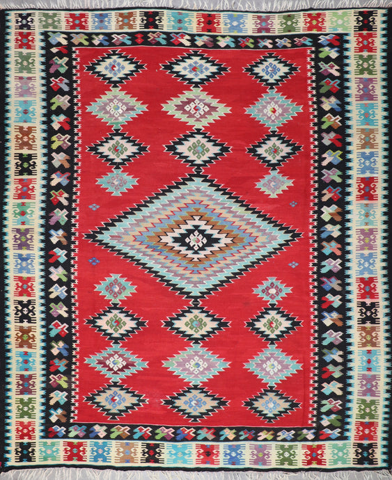 "9'8""x11'5"" Persian Kilim Red Wool Hand-Knotted Rug"