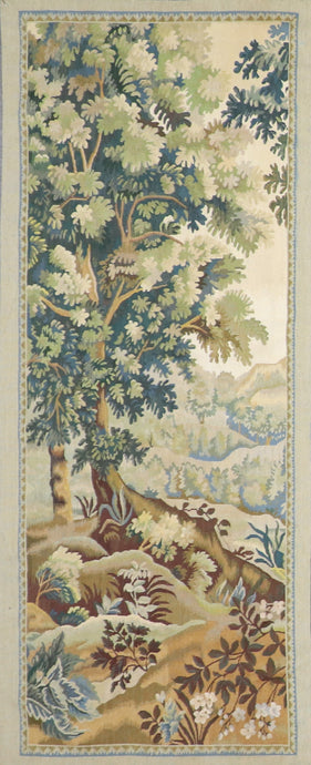 "2'8""x6'8"" Aubusson Green Flatweave Wool Hand-Knotted Tapestry"