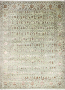 "10'x13'10"" Decorative Green & Brown Wool & Silk Hand-Knotted Rug - Direct Rug Import 