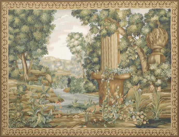 "5'x6'9"" Aubusson Brown Flatweave Wool Hand-Knotted Tapestry"