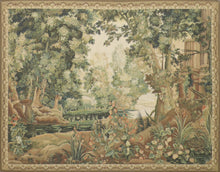 "Load image into Gallery viewer, 6'1""x7'9"" Trees Green Flatweave Wool Hand-Knotted Tapestry"