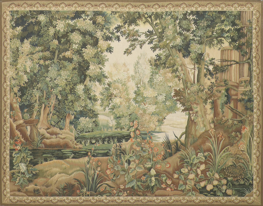 "6'1""x7'9"" Trees Green Flatweave Wool Hand-Knotted Tapestry"