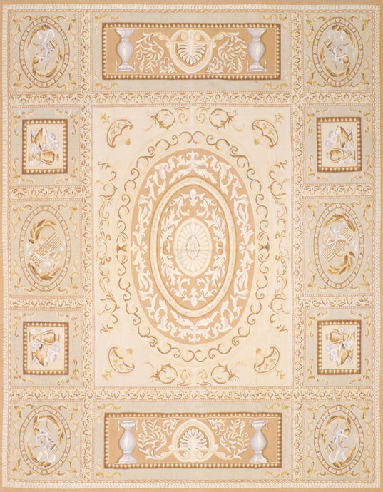 "7'10""x10'4"" Aubusson Tan Wool Hand-Knotted Rug"