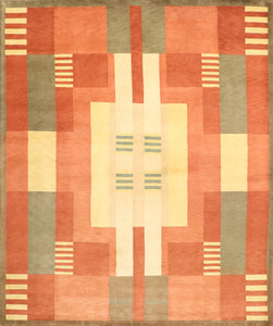 "8'1""x9'10"" Contemporary Tibetan Orange Green Wool Hand-Knotted Rug"