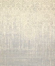 "Load image into Gallery viewer, 8'x9'9"" Transitional Gray Ivory Wool & Silk Hand-Knotted Rug"