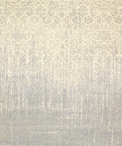 "8'x9'9"" Transitional Gray Ivory Wool & Silk Hand-Knotted Rug"