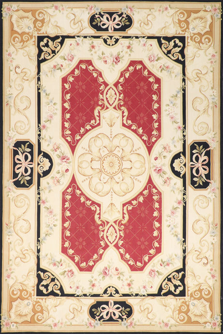 "6'7""x10' Aubusson Gold Wool Hand-Knotted Rug"