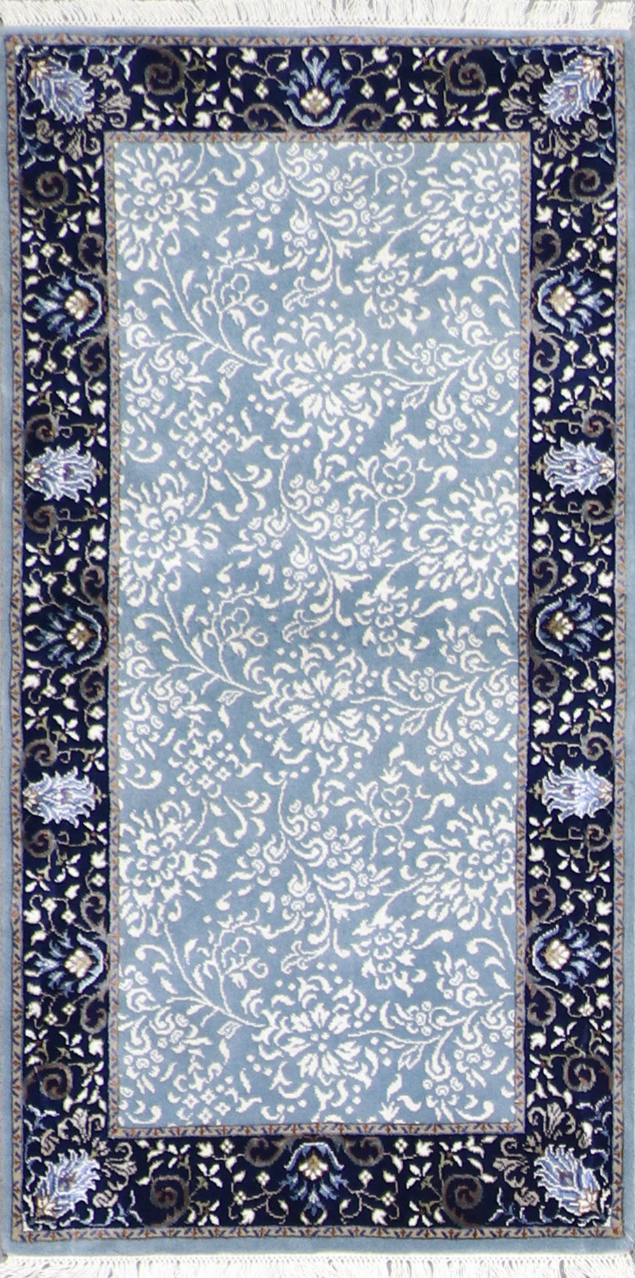 "2'6""x5'1"" Decorative Blue & Navy Wool & Silk Hand-Knotted Rug - Direct Rug Import 
