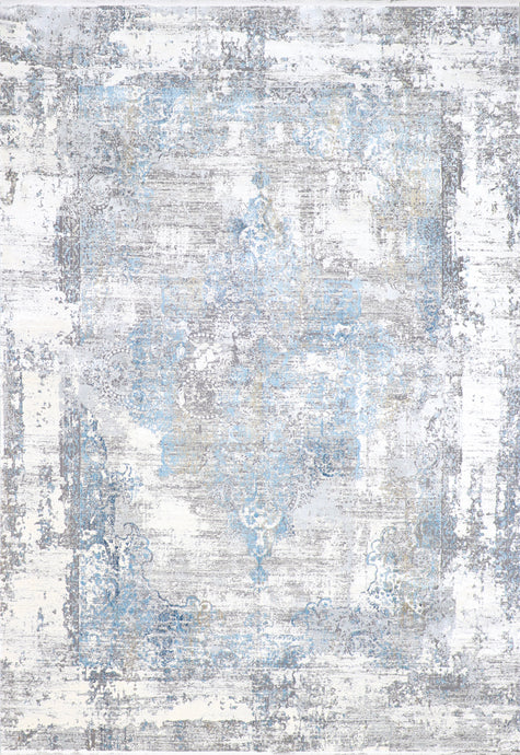 "7'9""x11' Transitional Gray Wool & Silk Hand-Finished Rug - Direct Rug Import 