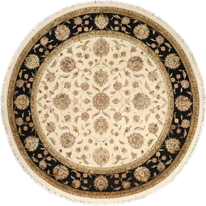 "10'1""x10'1"" Decorative Tan Wool& Silk Hand-Knotted Rug"