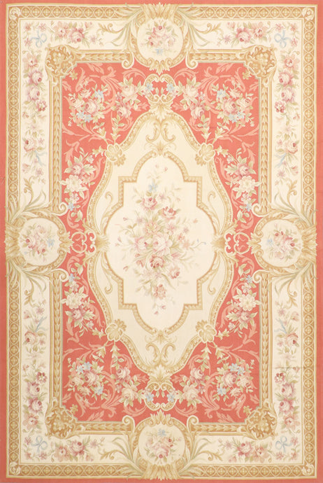 "6'7""x10' Aubusson Wool Hand-Knotted Rug"