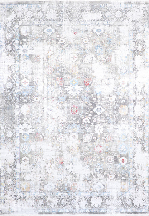 "7'9""x9'10"" Transitional Gray Wool & Silk Hand-Finished Rug - Direct Rug Import 