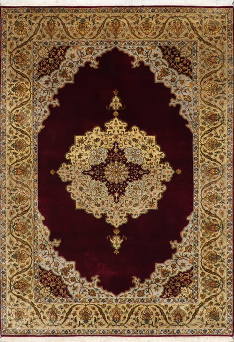 "5'6""x8'1"" Classic Traditional Tabriz Burgundy Wool Hand-Knotted Rug - Direct Rug Import 