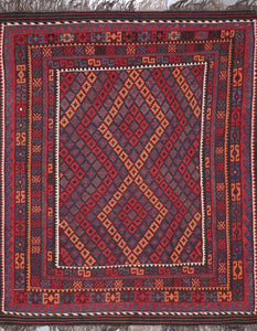 "6'7""x8'2"" Persian Kilim Red Wool Hand-Knotted Rug"