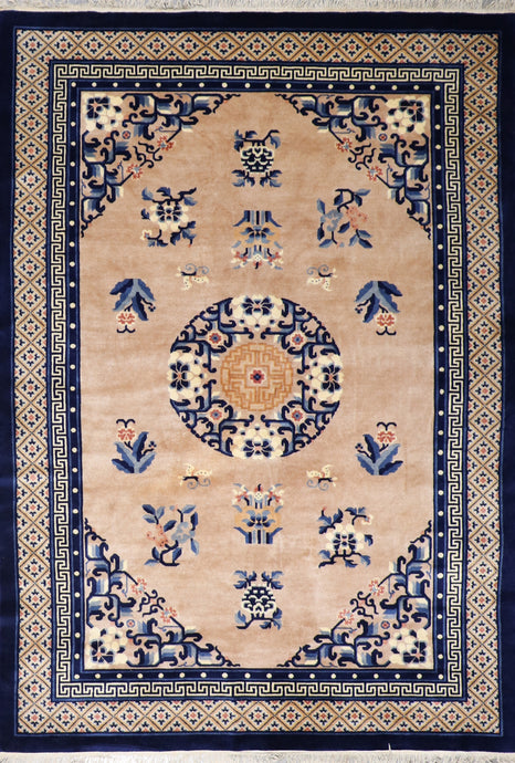 "6'1""x9'1"" Traditional Tan Wool Hand-Knotted Rug"