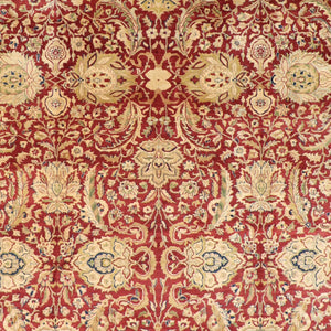 "9'1""x12'1"" Traditional Red Wool Hand-Knotted Rug - Direct Rug Import 