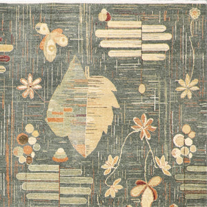 "8'1""x9'10"" Contemporary Green Wool Hand-Knotted Rug - Direct Rug Import 