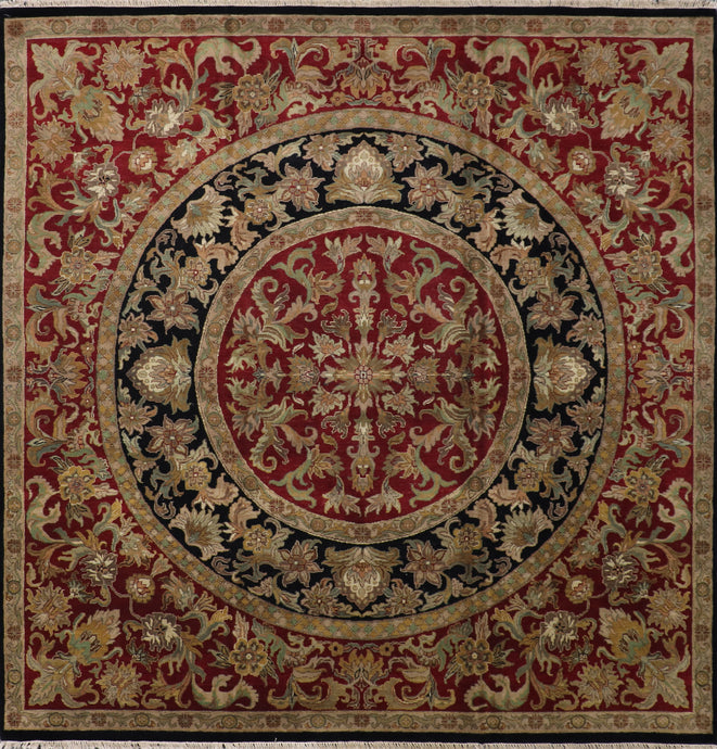 "9'1""x9'3"" Traditional Black Kashan Wool Hand-Knotted Rug"