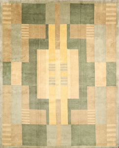 8'x10' Contemporary Tibetan Green Wool Hand-Knotted Rug