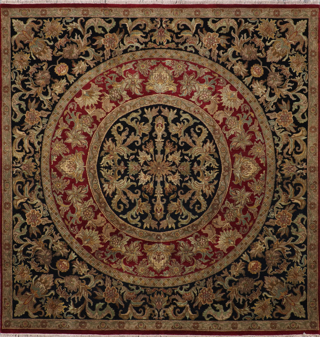 "8'10""x8'10"" Traditional Black Kashan Wool Hand-Knotted Rug"