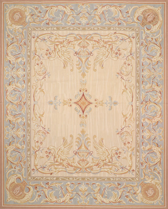 "7'10""x10' Aubusson Tan Wool Hand-Knotted Rug"