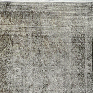 "7'10""x10'11"" Transitional Over-dyed Gray- Charcoal Wool Hand-Knotted Rug"