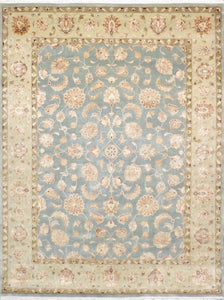 9'x12' Decorative Teal Wool & Silk Hand-Knotted Rug