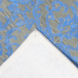 6'x9' Transitional Blue Wool & Silk Hand-Tufted Rug