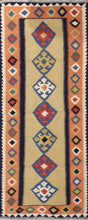 "Load image into Gallery viewer, 2'6""x6'9"" Persian Kilim Gold Wool Hand-Knotted Runner"