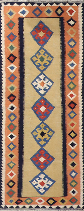 "2'6""x6'9"" Persian Kilim Gold Wool Hand-Knotted Runner"