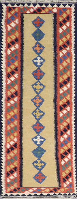 "2'6""x6'6"" Persian Kilim Gold Wool Hand-Knotted Runner"