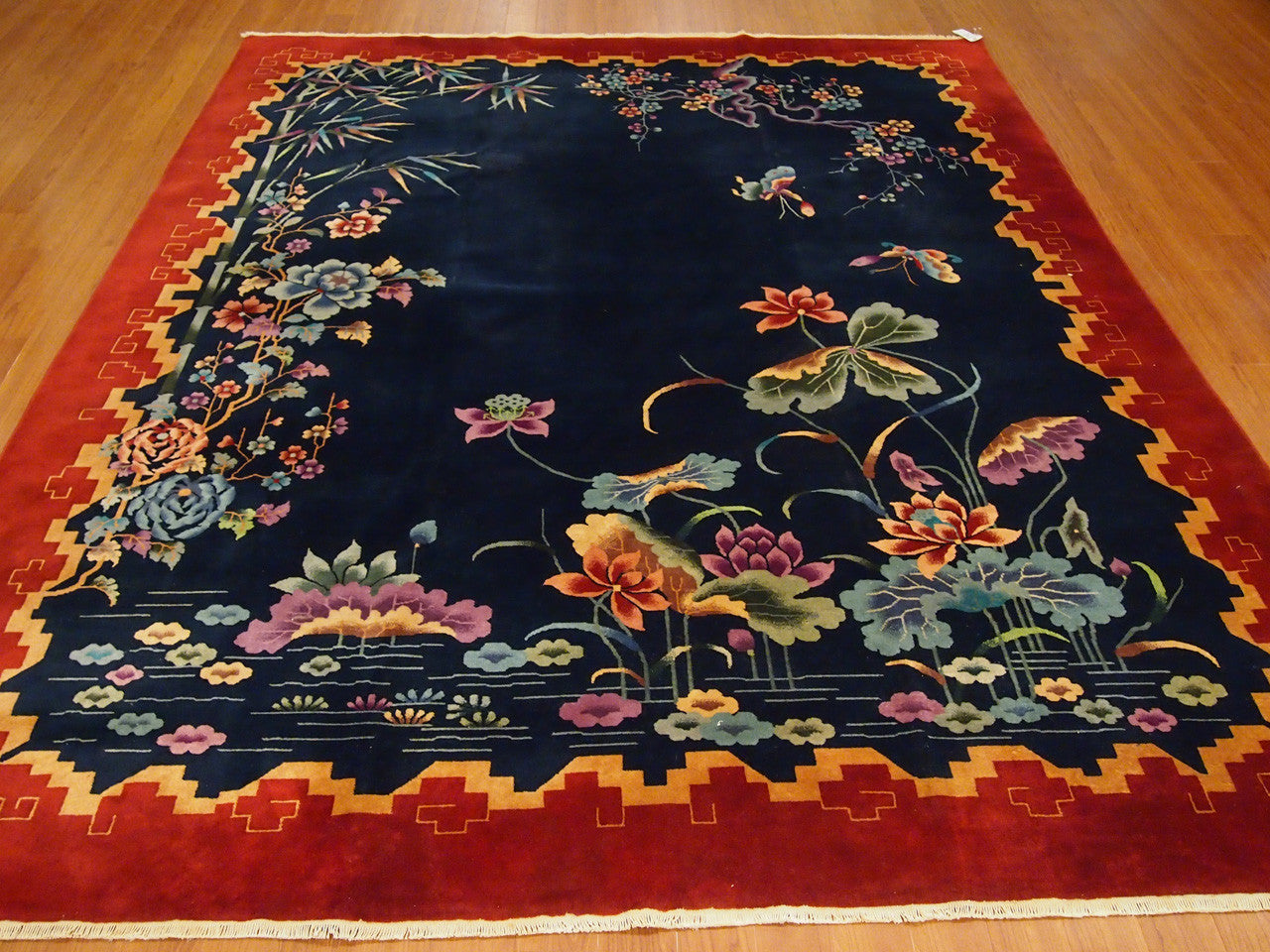 7'1.1'' X 9'7'' Chinese Art Deco Art Deco Traditional Hand-Knotted Ruby,Gold Rectangle Wool Rug