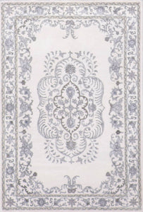"4'1""x6'1"" Decorative Gray Wool & Silk Hand-Knotted Rug"