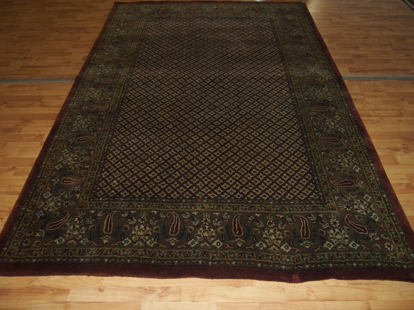 6' X 9' Decorative Wool Brown Rectangle Persian Lychee Rug