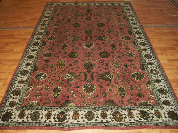 5'11'' X 8'11'' Traditional Wool & Silk Beige Rectangle Persian Tabriz Rug