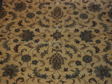 8'6'' X 11'7'' Overall Decorative Persian Tabriz Tan Rectangular Wool Rug