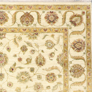 "8'10""x11'11"" Traditional Ivory Wool & Silk Hand-Knotted Rug"
