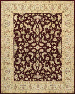 "7'8""x9'10"" Traditional Tabriz Burgundy Wool & Silk Hand-Tufted Rug"