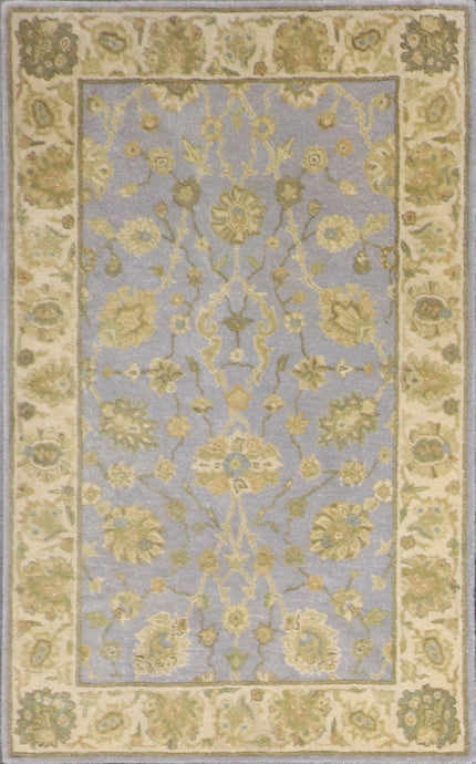 "3'7""x5'6"" Decorative Light Blue Wool Hand-Tufted Rug - Direct Rug Import 