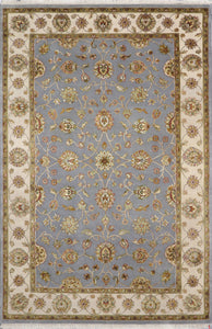 "5'11""x9' Traditional Gray Tabriz Wool & Silk Hand-Knotted Rug - Direct Rug Import 