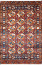 "Load image into Gallery viewer, 4'2""x6'4"" Traditional Persian Bokhara Red Wool Hand-Knotted Rug"