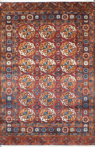 "4'2""x6'4"" Traditional Persian Bokhara Red Wool Hand-Knotted Rug"