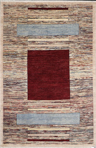 "5'7""x8'4"" Contemporary Burgundy Wool Hand-Knotted Rug - Direct Rug Import 