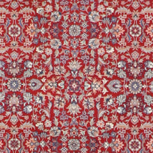 "Load image into Gallery viewer, 4'2""x6'1"" Traditional Persian Yazd Red Wool Hand-Knotted Rug"