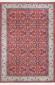 "4'2""x6'1"" Traditional Persian Yazd Red Wool Hand-Knotted Rug"